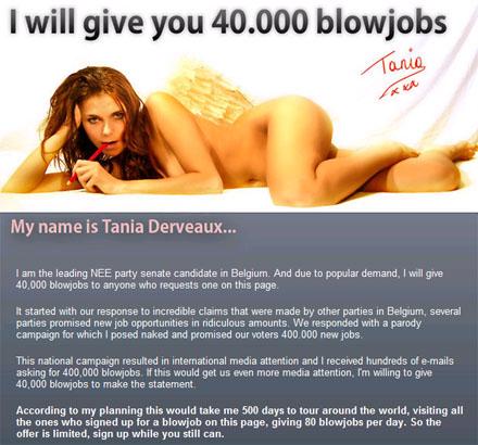 40000 fel·lacions era la promesa electoral de Tania Derveaux