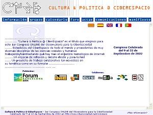 Cultura & Política @ CiberEspai - 1r Congrés ONLINE OCS / 2002